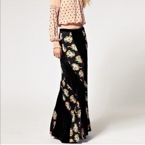 Free People Twisted Floral Velvet Maxi Skirt Sz 10